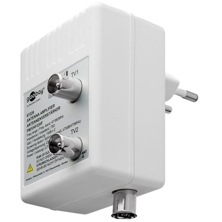 Antenne versterker - 2 uitgangen Versterking: 10 dB