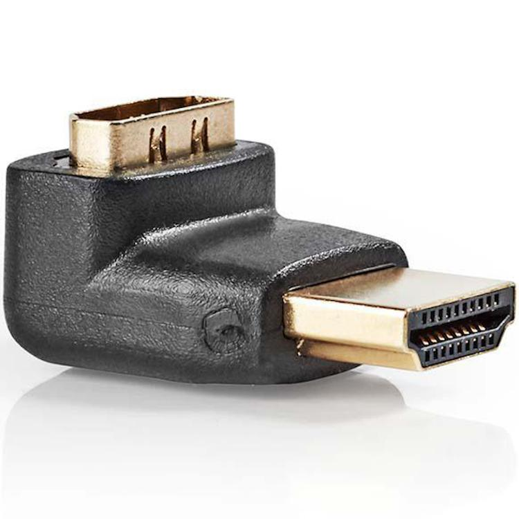 HDMI A-A Verloopstekker 90° naar boven Connector 2: HDMI A female