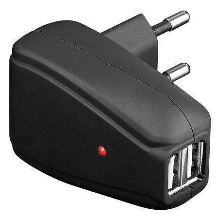 USB Thuislader Laadstroom 2x USB: 500 mA