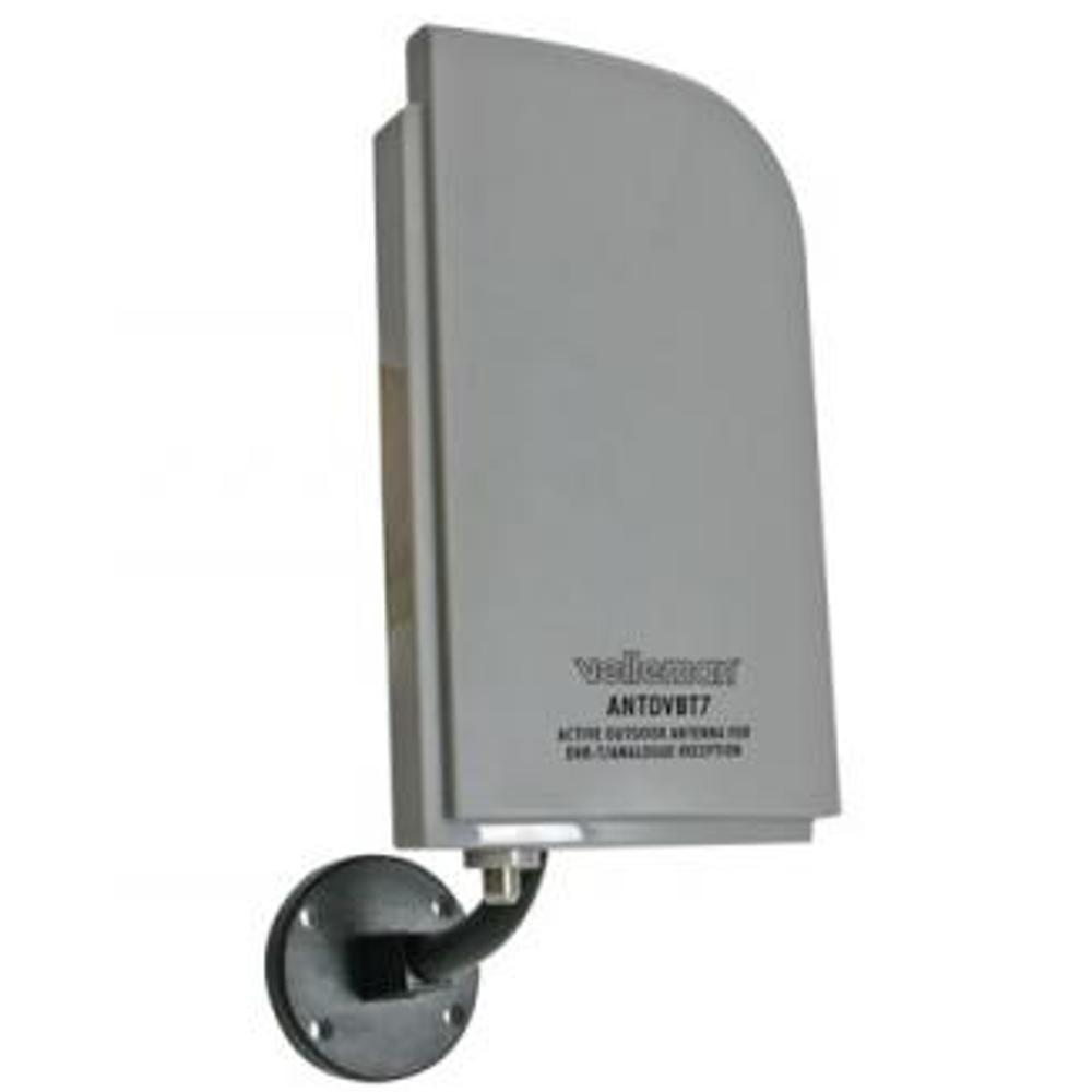 Actieve DVB-T Binnen- en Buitenantenne voor Radio/TV Kleur: zilver/grijs