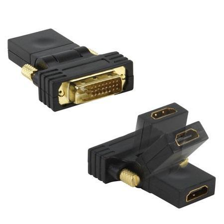 HDMI A - DVI-D Verloopstekker 180° KNIKBAAR Verguld: Ja
