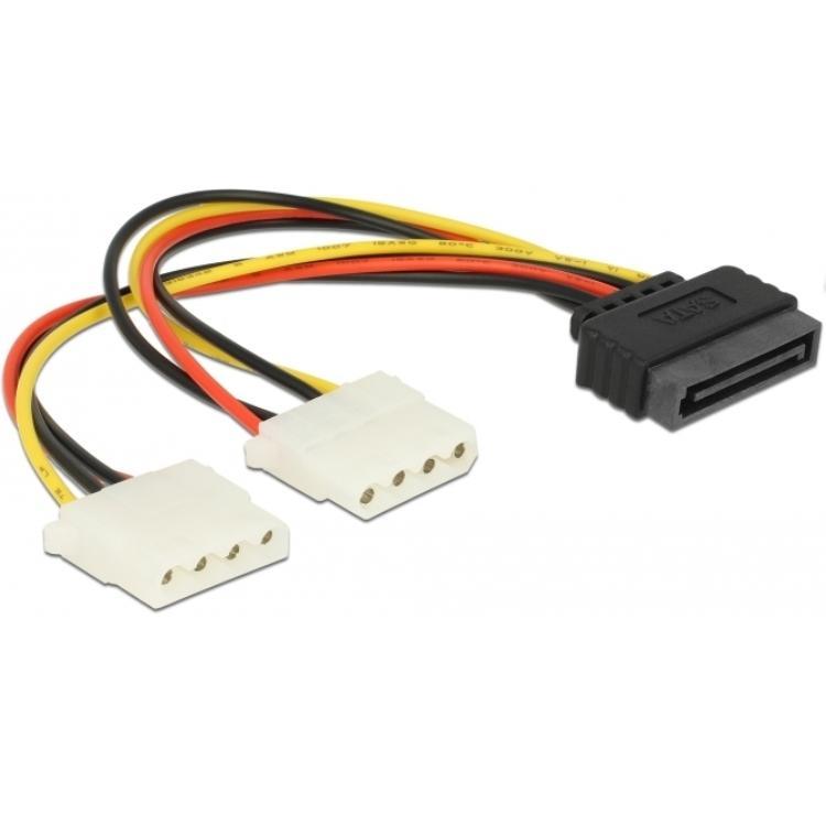 Image of 15p Sata voedingskabel naar Molex Y kabel - Delock