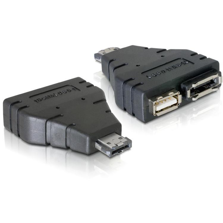 eSATA naar eSATA/USB converter Kleur: Zwart