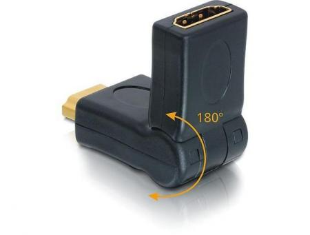 HDMI HAAKSE VERLOOP 180° KNIKBAAR HDMI Male naar HDMI Female, 180° Haaks, Verguld