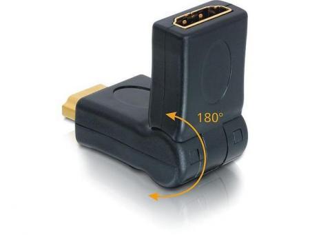 HDMI HAAKSE VERLOOP 180° KNIKBAAR Verguld: Ja