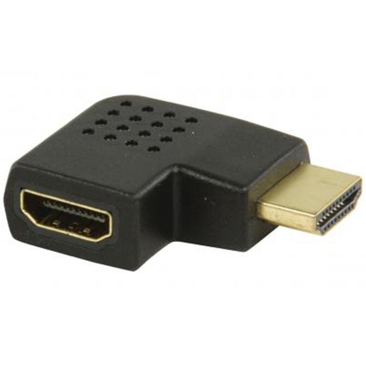 HDMI A-A Verloopstekker 90° naar rechts Verguld: Ja