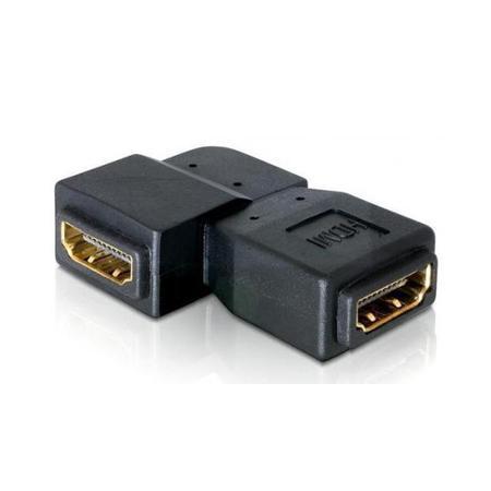 HDMI A Koppelstuk - 90° naar rechts Verguld