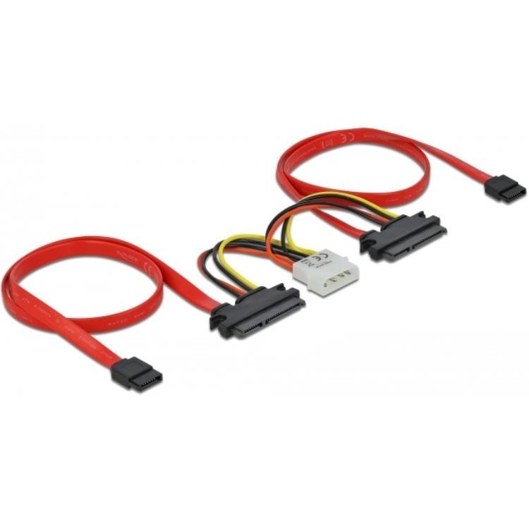 SATA kabel met voeding Aansluitingen: 1 x 4pin voeding, 2 x SATA datakabel, 2 x Combo connector