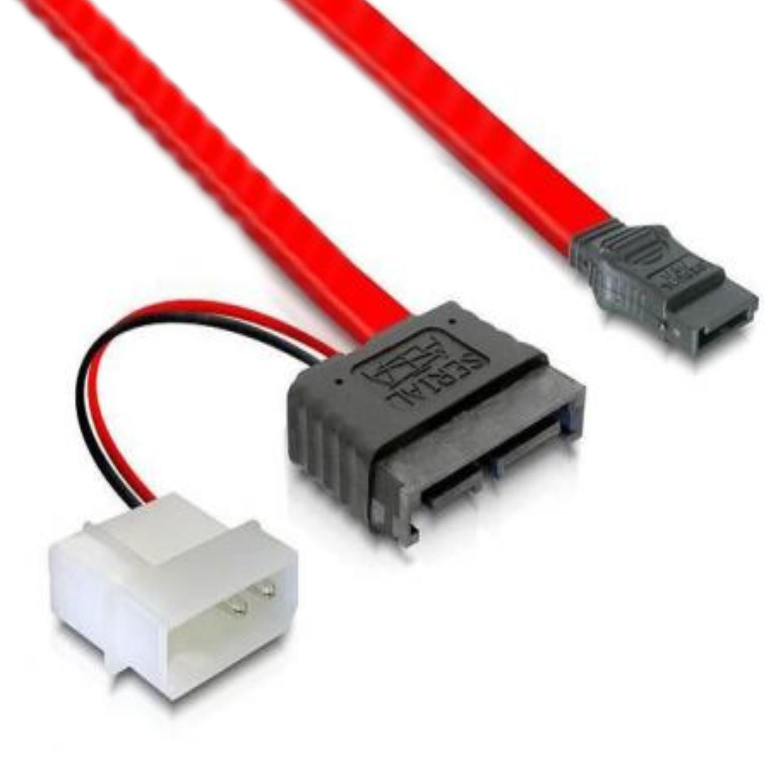 Slim SATA kabel met voeding Lengte: 30cm