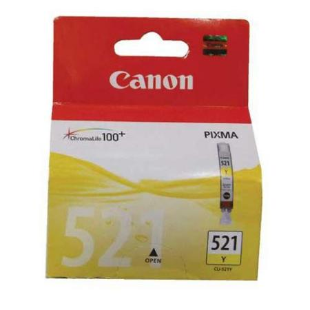 CLI-521Y INKTCARTRIDGE GEEL 9ML. -CANON- Originele cartridge voor Canon Pixma iP3600, iP4600, iP4600X, MP540, MP620, MP630, MP980, MX860 e.a