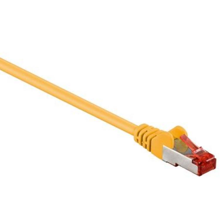 Image of Goobay RJ45 Netwerk Aansluitkabel CAT 6 S/FTP 0.15 m Geel Vergulde steekcontacten