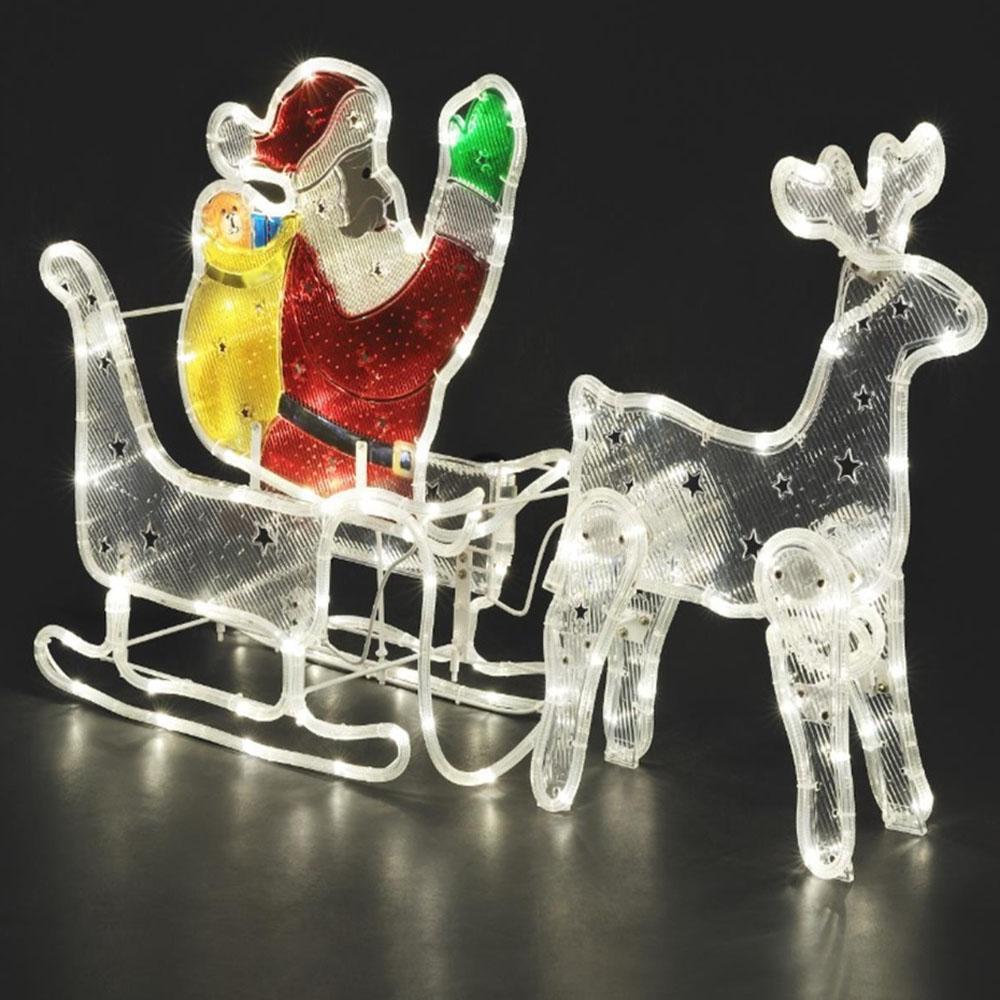 kerstman kerstman met slede led kleur verlichting warm wit gebruik binnen en buiten. Black Bedroom Furniture Sets. Home Design Ideas