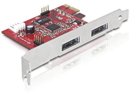 PCI Express Kaart - 2x Combi eSATAp/USB 2.0 Voeding: 4-Polig Molex