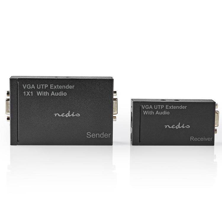 VGA en Audio verlenger Via UTP Max. kabellengte: 300 meter