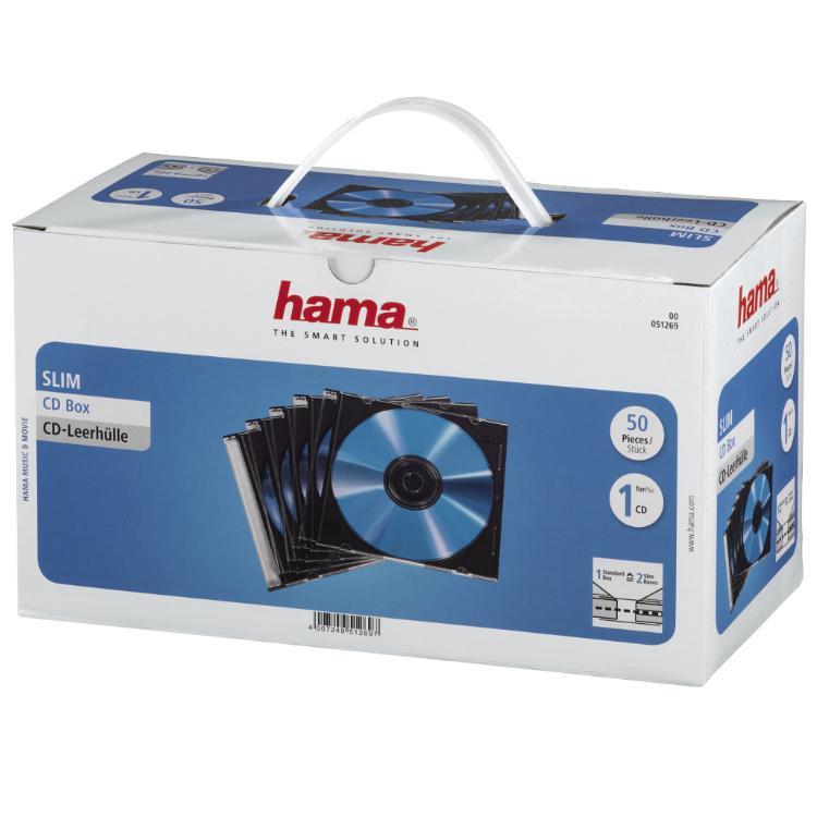 Image of 1x50 Hama CD-cases SlimLine Transparent-zwart 51269