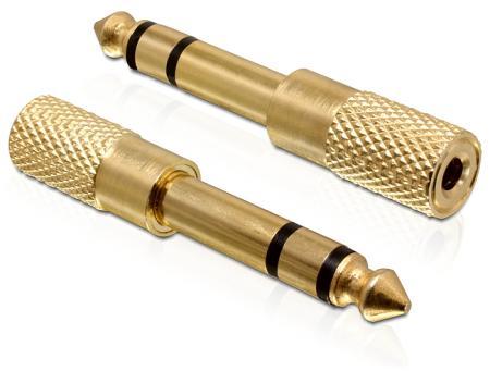 Image of Adapter Audio Klinke 6,35mm St > 3,5mm Bu Metall-gold Delock - Delock