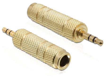 Image of Adapter Audio Klinke 3,5mm St > 6,35mm Bu 3 Pin Metall-gold Delock - D