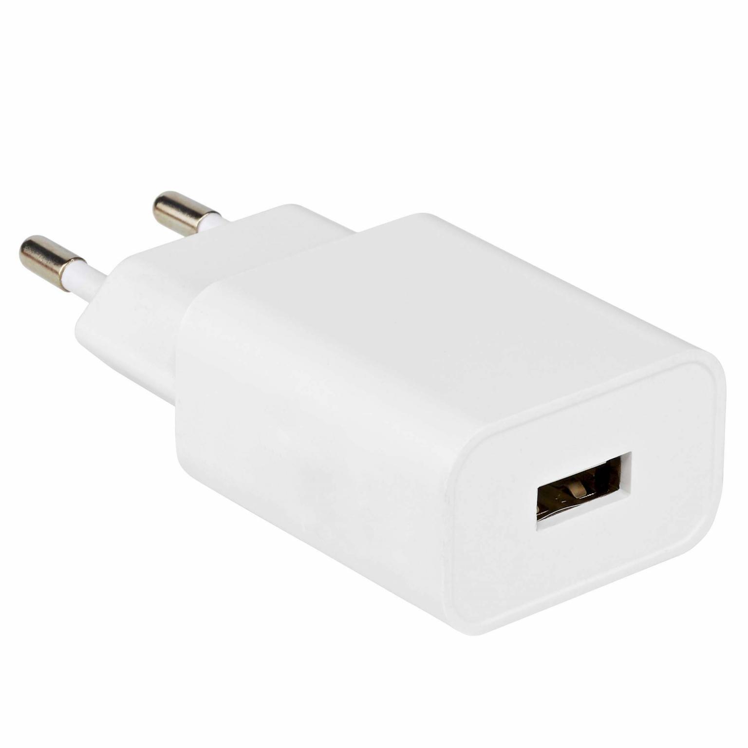 USB Lader - Wit Uitgaande stroomsterkte: 1000 mA