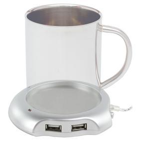 USB-warmhoudplaatje + hub Let op: Het kopje is niet inbegrepen