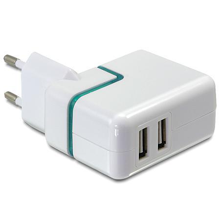 USB Lader 110/240V Uitgaande Stroom 2x USB: 1000 mA
