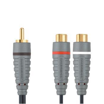 Subwooferadapter 0.2 m Adapter voor aansluiten subwooferkabel op AV-receiver met 2 aansluitingen