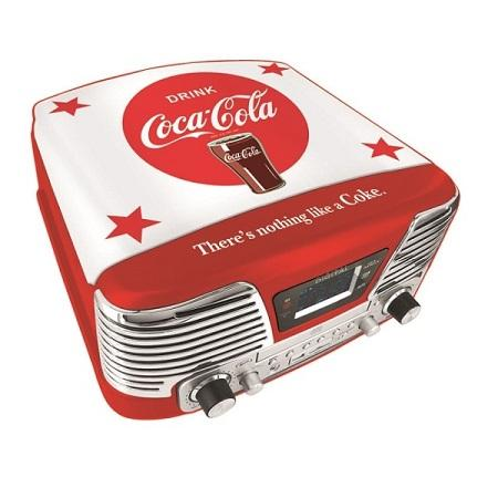 COCA COLA TD79-2 RETRO TURNTABLE/PLATENSPELER Retro platenspeler met fraaie Coca Cola uitstraling