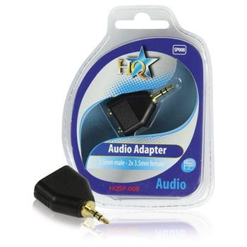 Audio adapter 3.5mm mannelijk - 2x 3.5mm vrouwelijk - HQ