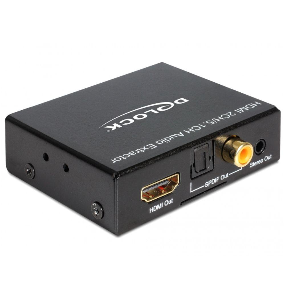Delock HDMI Stereo / 5.1 Channel Audio Extractor T his adapter can be used to extract the audio signal from an HDMI transmission . While the image signal is displayed on a TV or monitor, the audio signal can be sent digital ( S/PDIF) and analog ( stereo ) to other devices such as headphones or a surround receiver