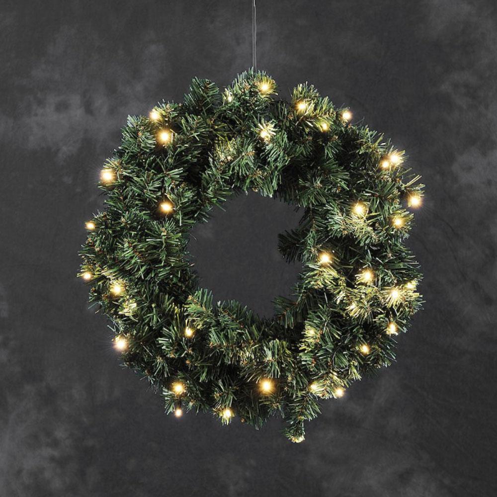 Deurkrans LED Groen, 40 Warmwitte LED
