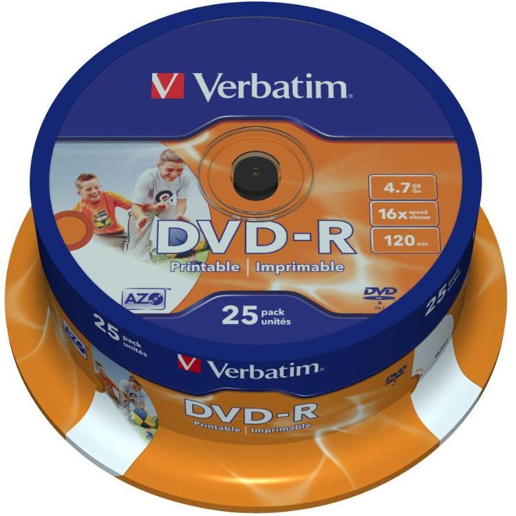 Image of 1x25 Verbatim DVD-R 4,7GB 16x Speed, wide printable