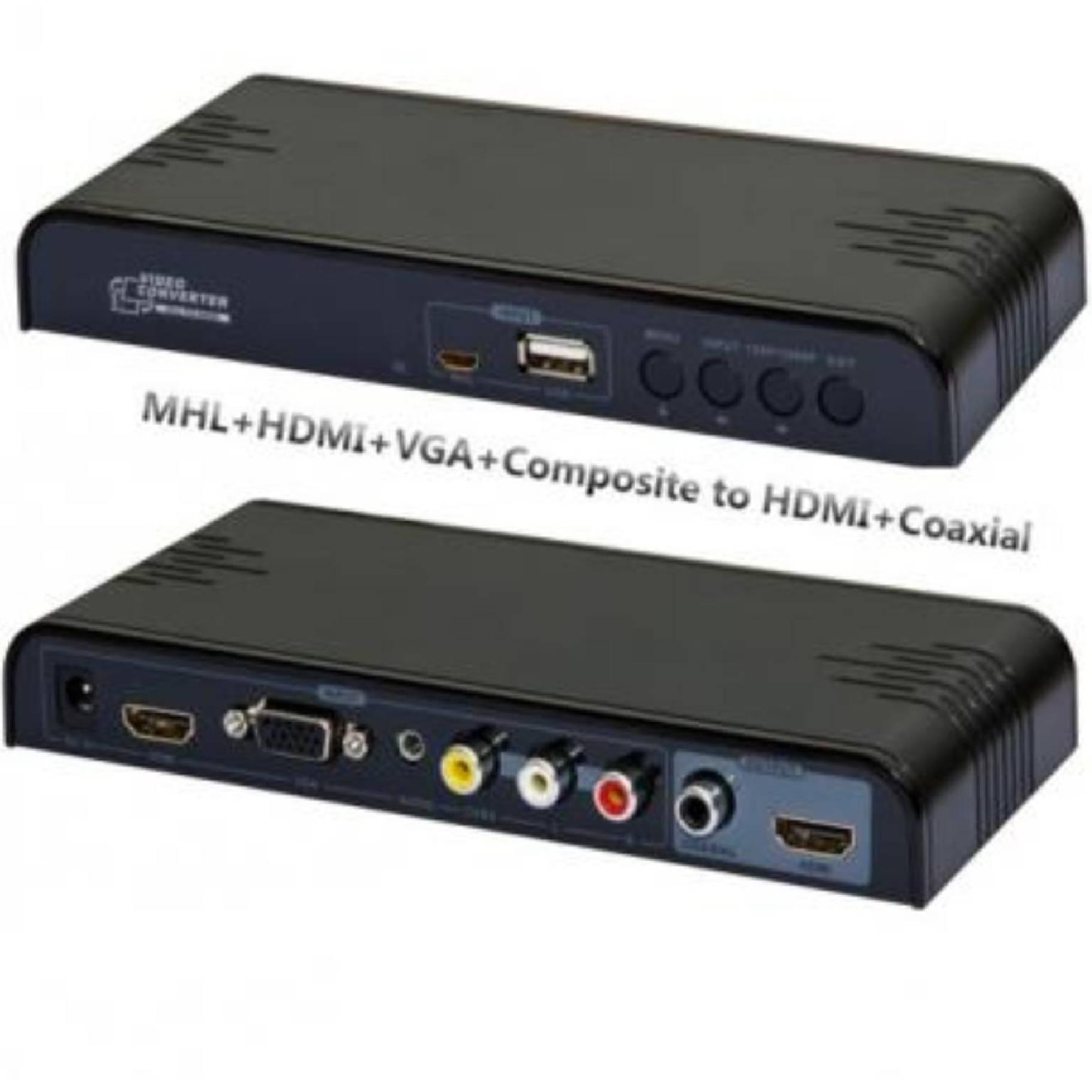 MHL HDMI VGA Composiet naar HDMI omvormer Uitgang: HDMI en Digitaal coaxiaal