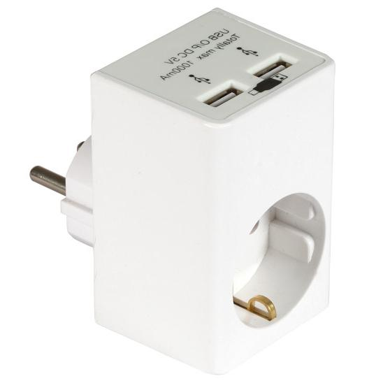 USB thuislader Uitgaande stroomsterkte 2x USB: 500 mA