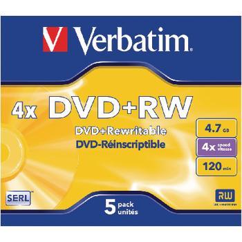 DVD + RW Matt Silver 4.7 GB 4 x Jewel Case 5 Stk Verbatim