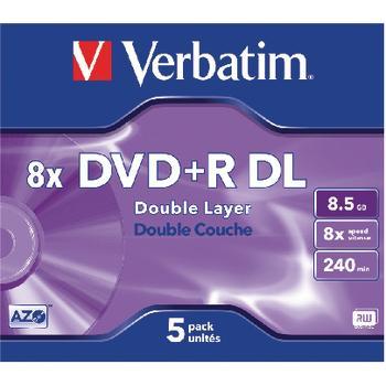 DVD + R Double Layer 8 x 8,5 GB Jewel Case 5 Stk Verbatim