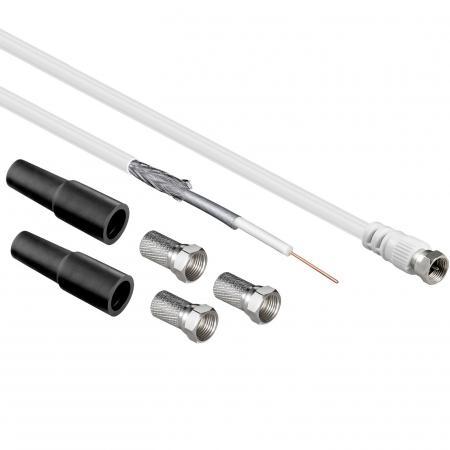 Koaxial Kabelset, 3 x F-Stecker, 2 X Hülse<br>30 m, 2 X geschir