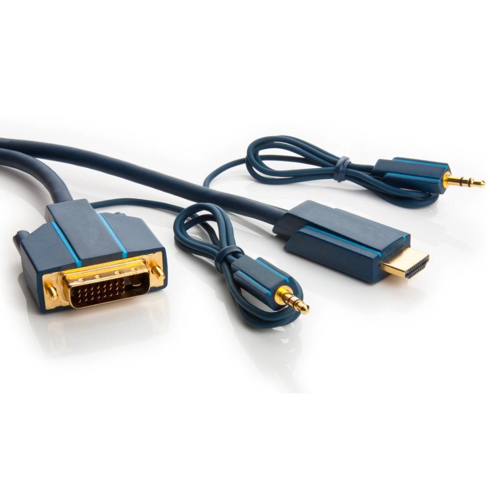 HDMI - DVI Kabel - met audio - Professioneel 7.5 meter
