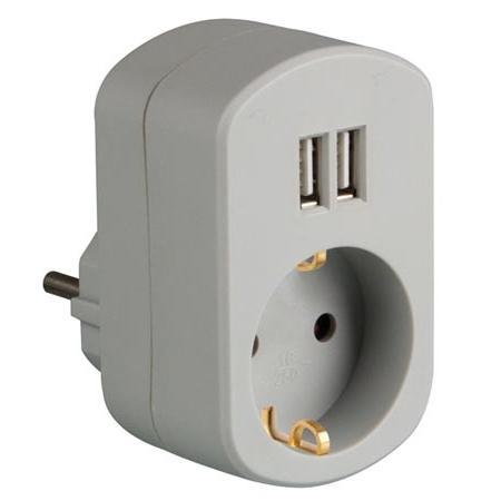Enkelvoudig Stopcontact - 2x Usb Uitgaande stroomsterkte 1x  USB: 1000 mA