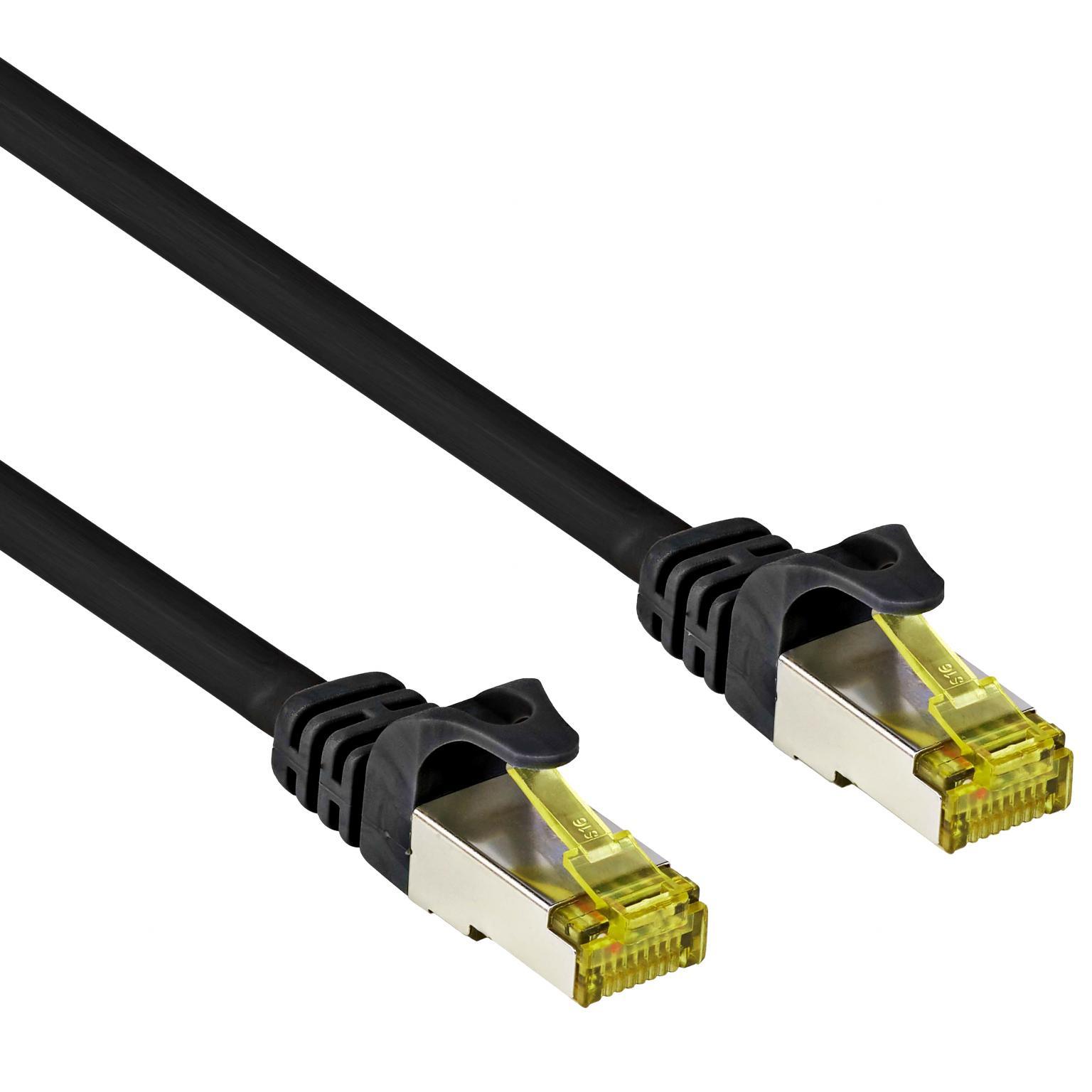 Image of Goobay RJ45 Netwerk Aansluitkabel CAT 7 S/FTP 30 m Zwart Snagless, Vergulde steekcontacten