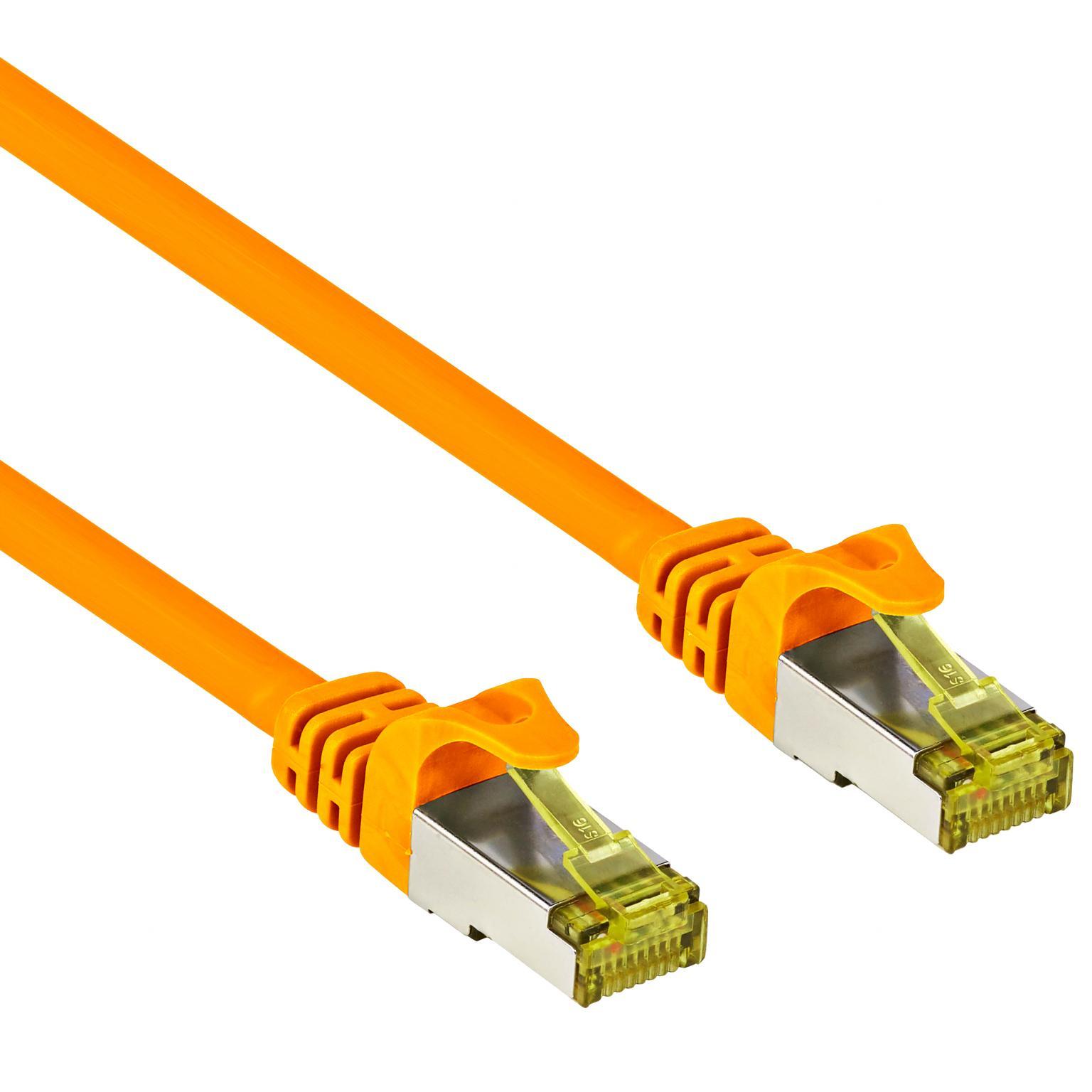 Image of Goobay RJ45 Netwerk Aansluitkabel CAT 7 S/FTP 20 m Oranje Snagless, Vergulde steekcontacten