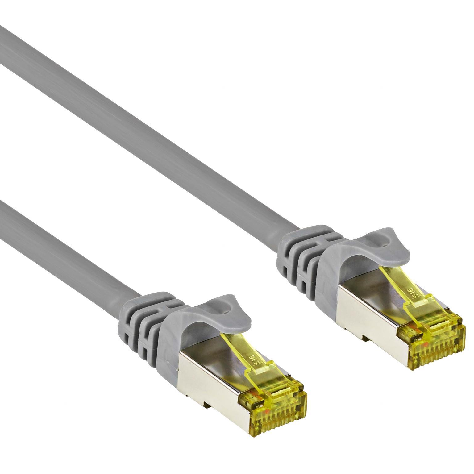 Image of Goobay RJ45 Netwerk Aansluitkabel CAT 7 S/FTP 0.50 m Grijs Snagless, Vergulde steekcontacten