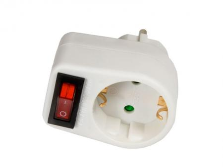 Image of Arcas plug adapter single with switch - Arcas