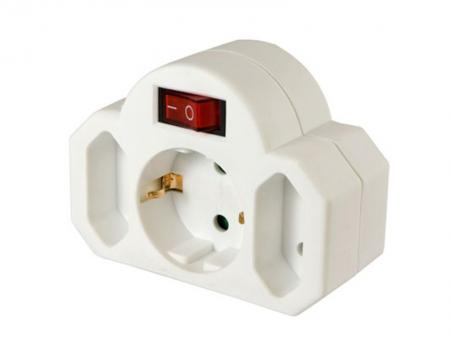Image of Arcas plug adapter 2+1 with switch - Arcas
