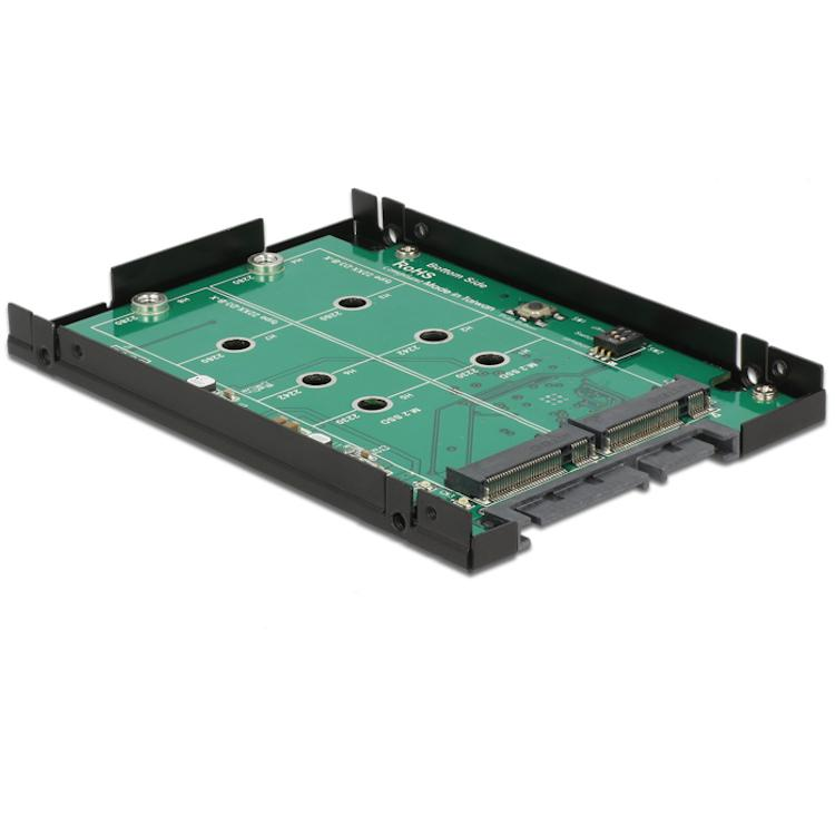 Image of 22-Polig SATA naar 2x M.2 NGFF adapter - RAID - Delock