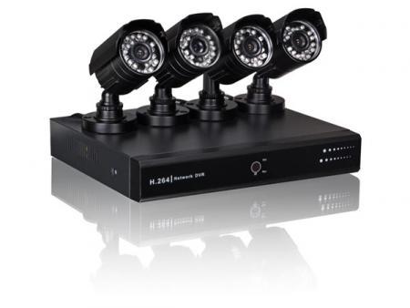 Image of STANDAARD VIDEOBEWAKINGSSET: DVR + 4 CAMERA'S + ACCESSOIRES + 500 GB H
