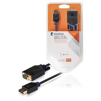 DisplayPort VGA Kabel DisplayPort Stecker VGA männlich 2,00 m gri