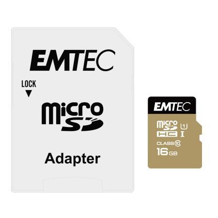 MicroSDHC 16GB EMTEC +Adapter CL10 Gold+ UHS-I 85MB-s Blister Emtec