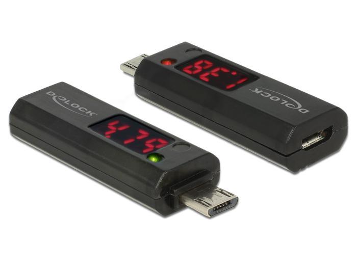 Delock Micro USB Adapter mit LED Anzeige f?r Volt und Ampere Delock