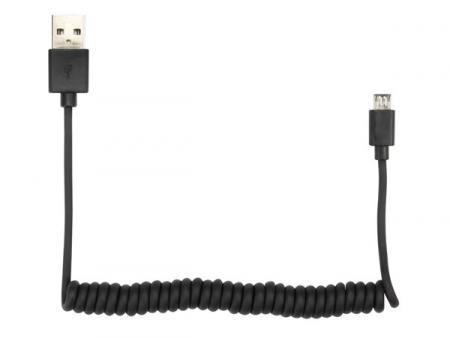 SPIRAALKABEL USB 2.0 A MANNELIJK naar MICRO-USB 5P MANNELIJK ZWART -