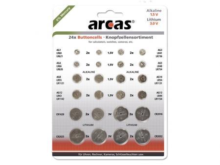 Image of Batterie Arcas Knopfzellen-Set AG1 bis CR2032 0% Mercury (24 St.)