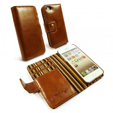 Image of Allston Craig Vintage Genuine Leather Wallet Case Cover for Apple iPho